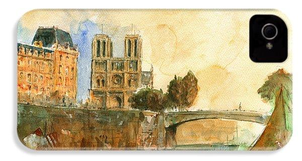 Paris Watercolor IPhone 4 Case by Juan  Bosco