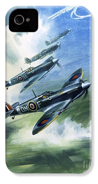 Patrolling Flight Of 416 Squadron, Royal Canadian Air Force, Spitfire Mark Nines IPhone 4 / 4s Case by Wilf Hardy