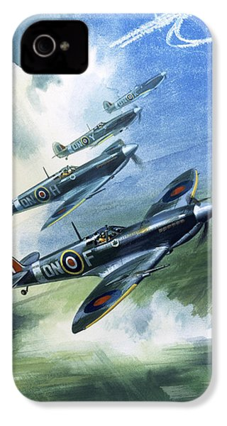 Patrolling Flight Of 416 Squadron, Royal Canadian Air Force, Spitfire Mark Nines IPhone 4 Case by Wilf Hardy