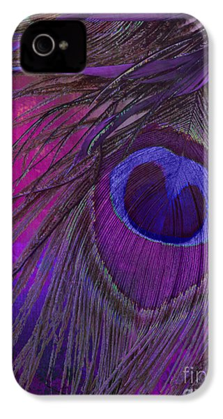 Peacock Candy Purple  IPhone 4 Case by Mindy Sommers