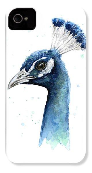 Peacock Watercolor IPhone 4 Case by Olga Shvartsur