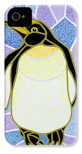 Penguin On Stained Glass IPhone 4 Case by Pat Scott