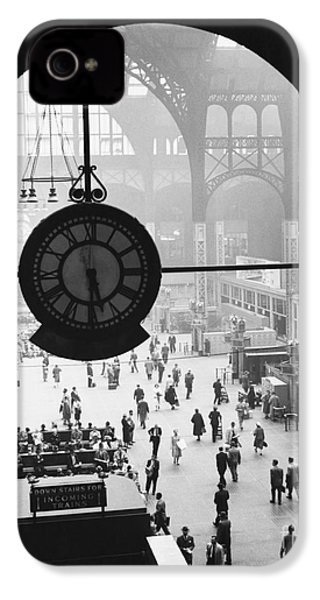 Penn Station Clock IPhone 4 Case by Van D Bucher and Photo Researchers