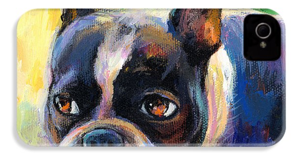 Pensive Boston Terrier Dog Painting IPhone 4 Case