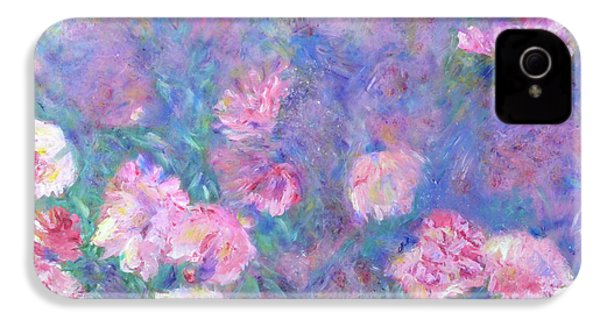 IPhone 4 Case featuring the painting Peonies by Claire Bull