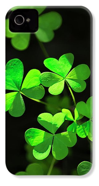 Perfect Green Shamrock Clovers IPhone 4 Case by Christina Rollo