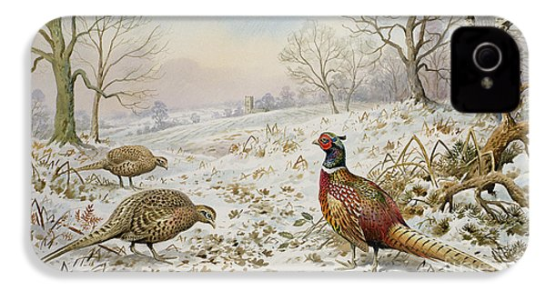 Pheasant And Partridges In A Snowy Landscape IPhone 4 Case by Carl Donner