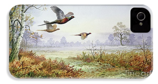 Pheasants In Flight  IPhone 4 Case by Carl Donner