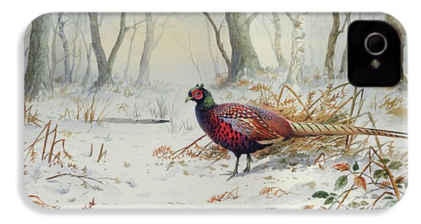 Pheasants In Snow IPhone 4 Case by Carl Donner