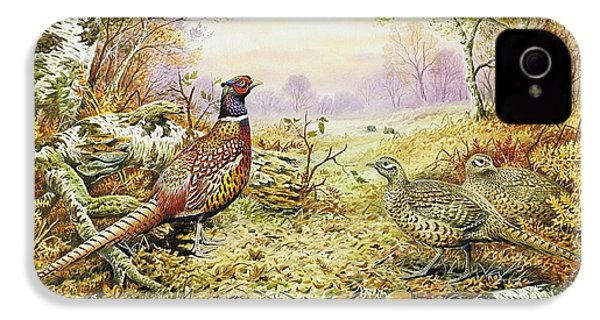 Pheasants In Woodland IPhone 4 Case by Carl Donner