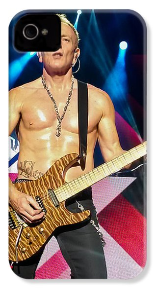 Phil Collen Of Def Leppard 5 IPhone 4 Case by David Patterson
