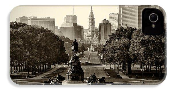 Philadelphia Benjamin Franklin Parkway In Sepia IPhone 4 Case by Bill Cannon