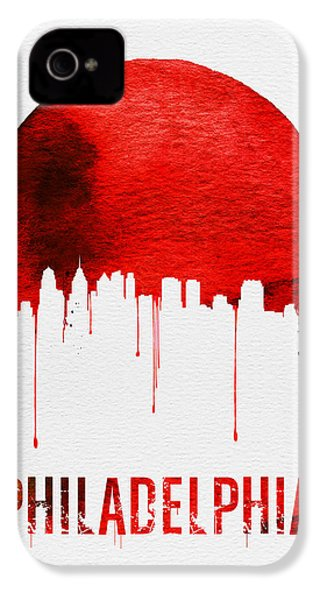 Philadelphia Skyline Redskyline Red IPhone 4 / 4s Case by Naxart Studio