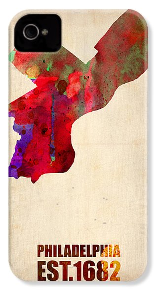 Philadelphia Watercolor Map IPhone 4 / 4s Case by Naxart Studio