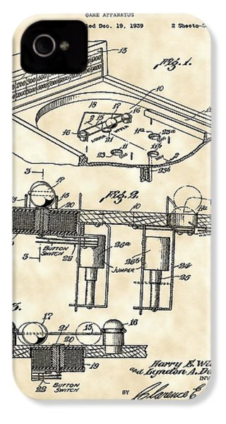 Pinball Machine Patent 1939 - Vintage IPhone 4 Case by Stephen Younts