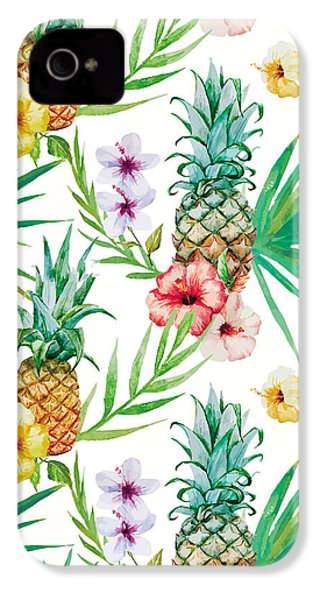Pineapple And Tropical Flowers IPhone 4 Case