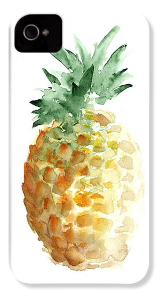 Pineapple Watercolor Minimalist Painting IPhone 4 Case