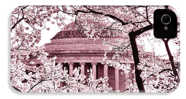 Pink Cherry Trees At The Jefferson Memorial IPhone 4 Case by Olivier Le Queinec