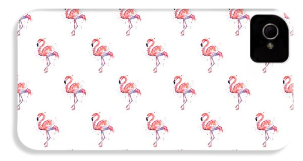 Pink Flamingo Watercolor Pattern IPhone 4 Case