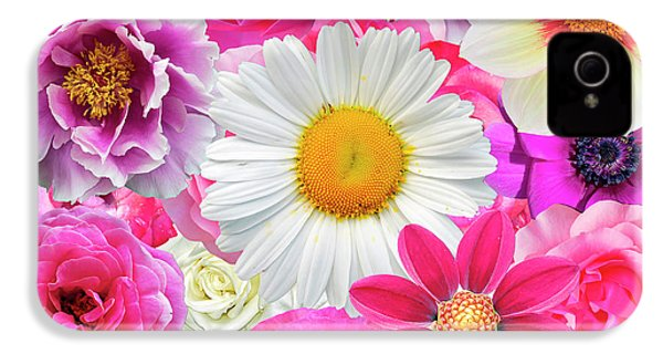 Pink Flowers  IPhone 4 / 4s Case by Gloria Sanchez