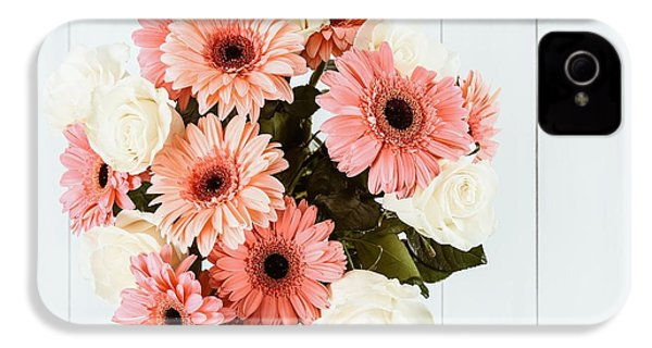 Pink Gerbera Daisy Flowers And White Roses Bouquet IPhone 4 Case by Radu Bercan
