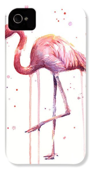 Pink Watercolor Flamingo IPhone 4 Case
