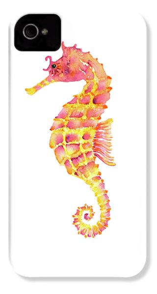 Pink Yellow Seahorse - Square IPhone 4 / 4s Case by Amy Kirkpatrick