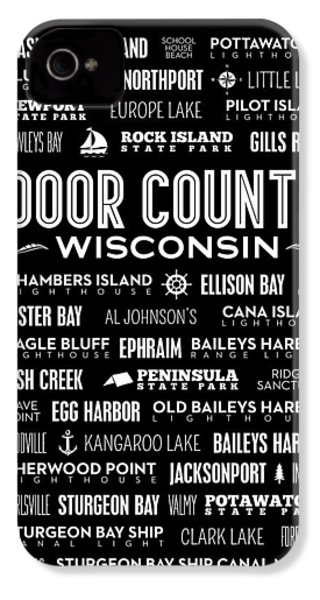 Places Of Door County On Black IPhone 4 Case by Christopher Arndt