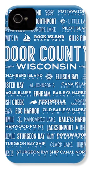 Places Of Door County On Blue IPhone 4 / 4s Case by Christopher Arndt