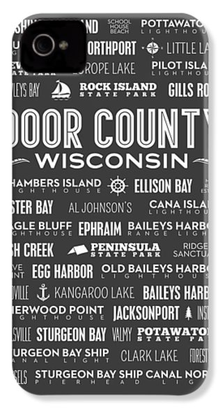 Places Of Door County On Gray IPhone 4 / 4s Case by Christopher Arndt