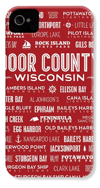 Places Of Door County On Red IPhone 4 Case by Christopher Arndt