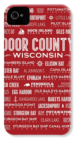 Places Of Door County On Red IPhone 4 / 4s Case by Christopher Arndt