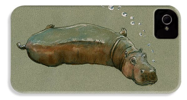 Playing Hippo IPhone 4 / 4s Case by Juan  Bosco