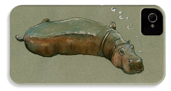 Playing Hippo IPhone 4 Case by Juan  Bosco