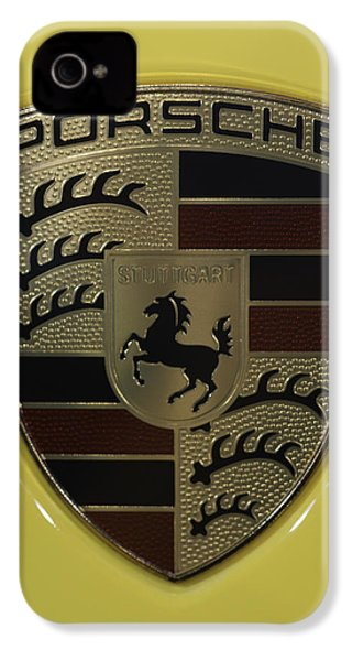 Porsche Emblem On Racing Yellow IPhone 4 Case by Sebastian Musial