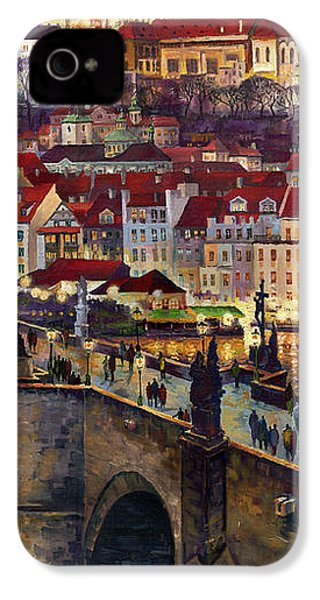 Prague Charles Bridge With The Prague Castle IPhone 4 Case by Yuriy  Shevchuk