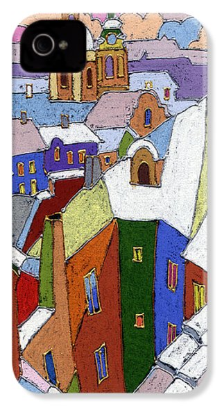 Prague Old Roofs Winter IPhone 4 Case by Yuriy  Shevchuk