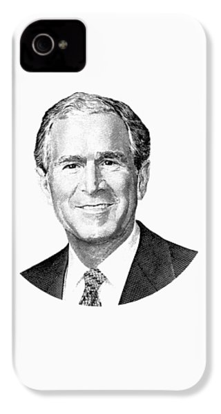 President George W. Bush Graphic - Black And White IPhone 4 Case by War Is Hell Store
