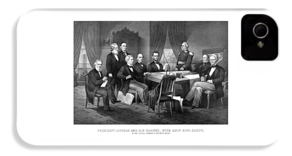 President Lincoln His Cabinet And General Scott IPhone 4 Case by War Is Hell Store