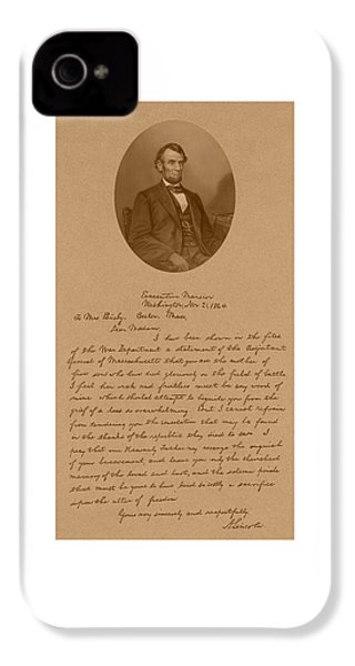President Lincoln's Letter To Mrs. Bixby IPhone 4 Case by War Is Hell Store