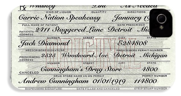 IPhone 4 Case featuring the photograph Prohibition Prescription Certificate Carrie Nation Speakeasy by David Patterson