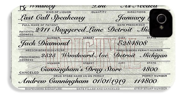 IPhone 4 Case featuring the photograph Prohibition Prescription Certificate Establishments by David Patterson