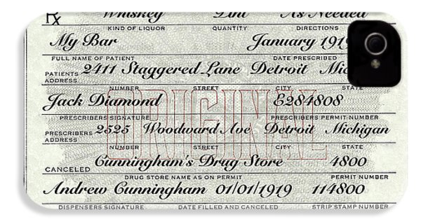 IPhone 4 Case featuring the photograph Prohibition Prescription Certificate My Bar, by David Patterson