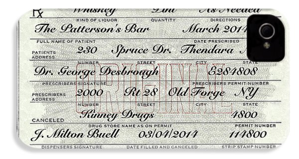 IPhone 4 Case featuring the photograph Prohibition Prescription Certificate Personalized by David Patterson
