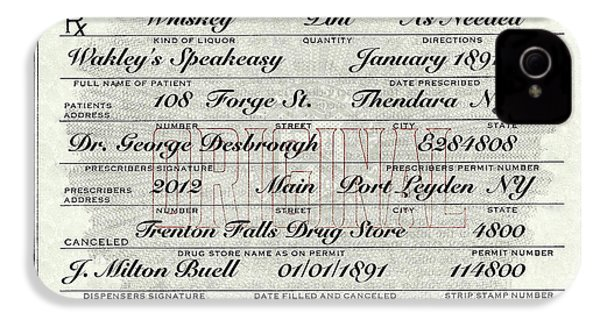 IPhone 4 Case featuring the photograph Prohibition Prescription Certificate Speakeasy by David Patterson