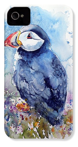 Puffin With Flowers IPhone 4 Case by Kovacs Anna Brigitta