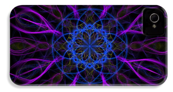 IPhone 4 Case featuring the photograph Purple Blue Kaleidoscope Square by Adam Romanowicz
