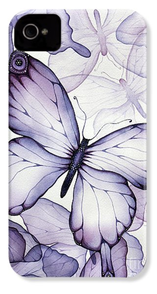 Purple Butterflies IPhone 4 Case by Christina Meeusen