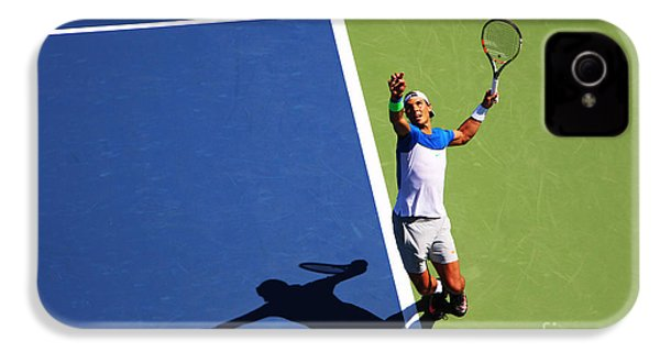 Rafeal Nadal Tennis Serve IPhone 4 Case by Nishanth Gopinathan