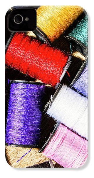 IPhone 4 Case featuring the photograph Rainbow Threads Sewing Equipment by Jorgo Photography - Wall Art Gallery